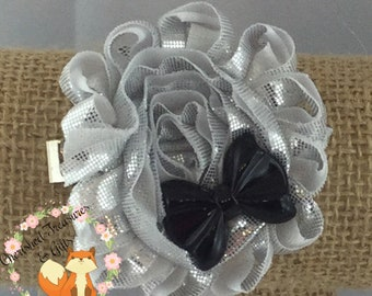 Silver Shimmer Black Bow Shabby Flower Hair Clip