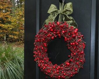 Berry Valentine Wreath - Holiday Wreath- Cranberry Wreath- Valentine Wreath- Choose Ribbon