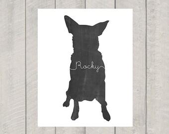 Custom Dog Silhouette Art Print - Modern Dog Art