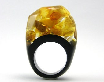 Amber Ring, Classic Clear and Black Resin Ring with Baltic Amber