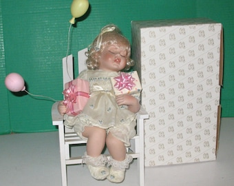 Porcelain Sleeping Suzy Birthday Doll by Heritage Signature Collection