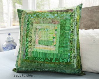 Quilted Pillow Modern Patchwork Pillow Quilted 20 x 20 Decorative Pillow Green Quilted Pillow Toss Pillow Green Theme Decor