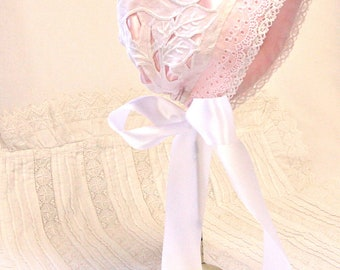 Vintage Satin and lace baby bonnet -- Pink and white baby girl hat, infant photo prop, antique lace bonnet, Satin Easter bonnet, shower gift