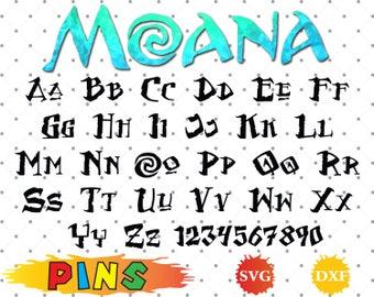 Moana font svg,dxf/Moana alphabet /Moana letters  for Design,Print,Silhouette, Cricut