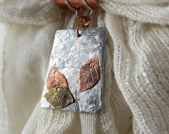 Upcycled OOAK mixed metal organic leaf scarf pendant for nature lover