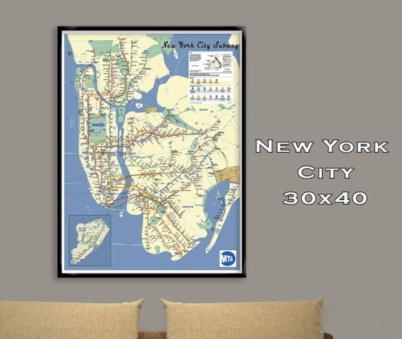 New york city subway map poster30x40 fine art print tube like this item gumiabroncs Choice Image