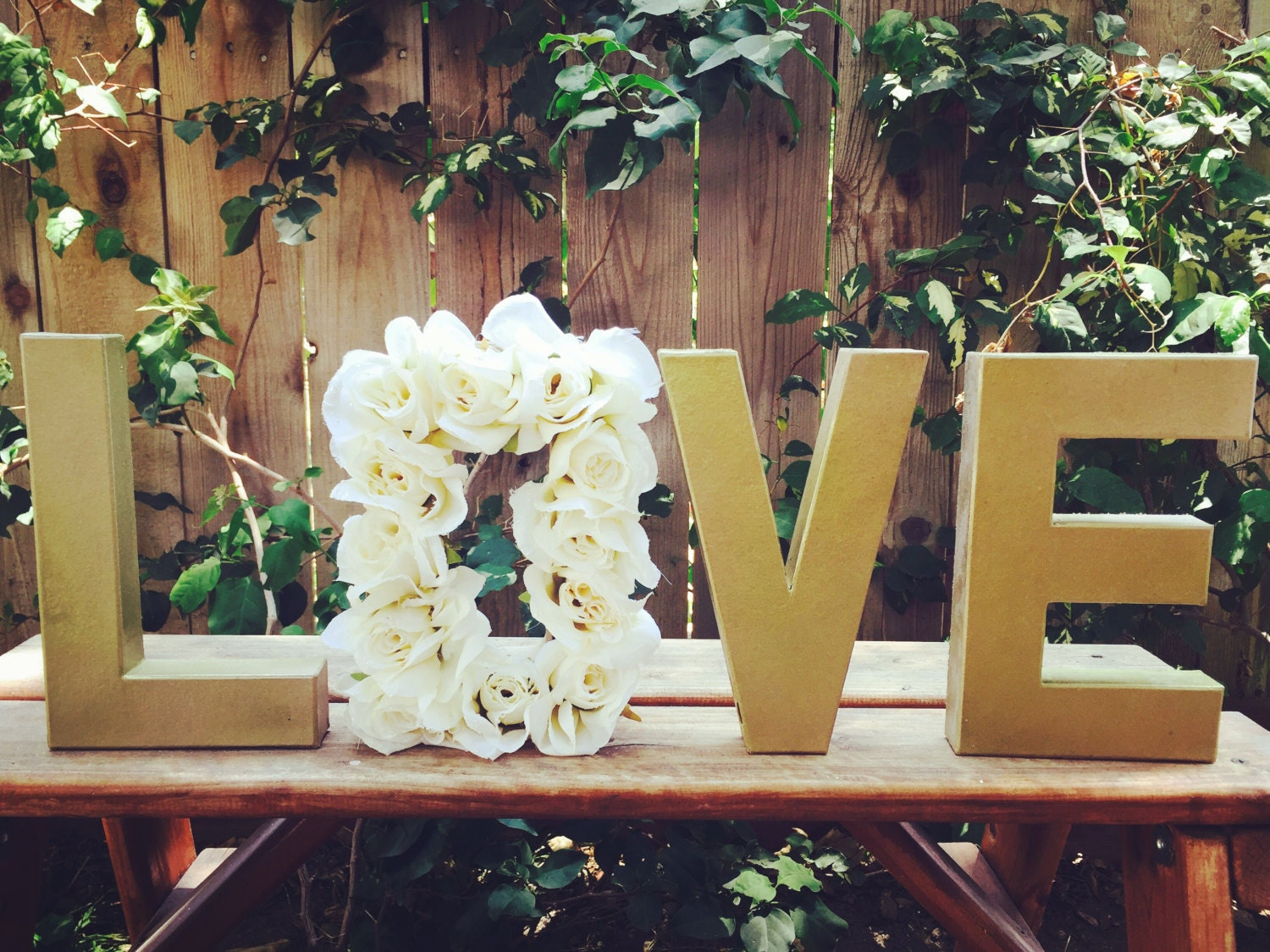 Wall Colour Inspiration: LOVE Floral Letters Wedding Decor Cake Table Decor Roses