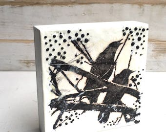 Blackbird Painting Tree Art Original Encaustic Painting Modern Art Housewarming Gift Black & White Art Bird Painting Crows Raven