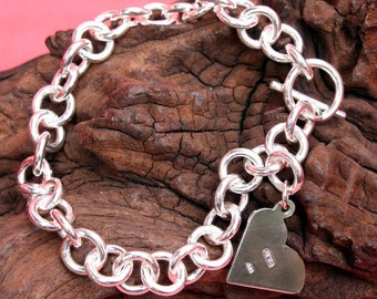 Lucy B Sterling Silver Bracelet with Heart Tag