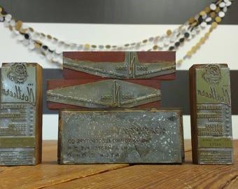 Printer Block; Industrial Salvage; Letterpress Blocks; Letterpress Stamp; Vintage Industrial; Factory; Industrial Salvage; Rustic Farmhouse
