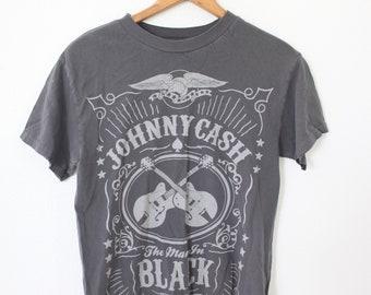 vintage JOHNNY CASH gray music t shirt