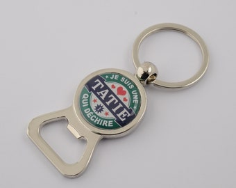 "Keychain bottle opener ""Auntie who rocks"""