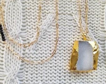 Gold Edge White Quartz Druzy Pendant Necklace