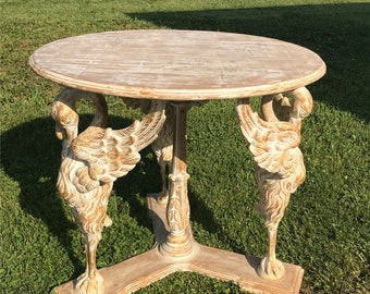 Carved Wood Swan Table, Swan Accent Table, Wooden Top, Art Deco Decorative Table, Handmade Table, Rustic Wood Table, Artistic Table, Chic