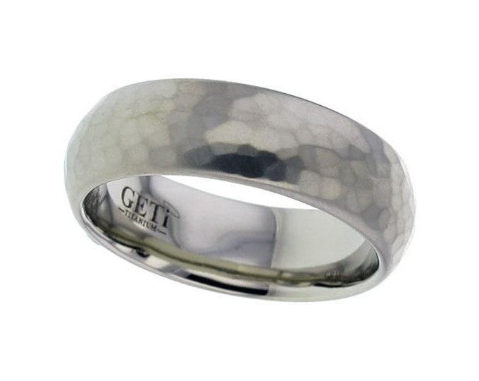 7mm Wide Titanium Court Wedding Ring Matt Hammered Finish - SIZE T