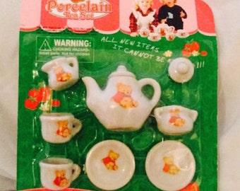 So Cute Vintage Children's  Porcelain Teddy Bear Mini Tea Set  Kids Doll Tea Set