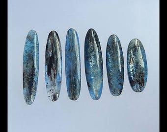 Sell 6 PCS Blue Kyanite Gemstone Cabochon Set,39x8x4mm,28x10x5mm,20.1g(s0295)