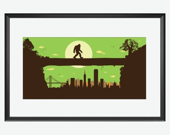 San Francisco Skyline, San Francisco print, San Francisco art, Sasquatch Print, Bigfoot art, Bigfoot print, bipedal humanoid, Bigfoot Poster