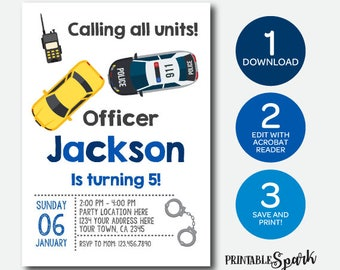 Instant Download, Police Invitation, Cops & Robbers Birthday Party, Edit yourself