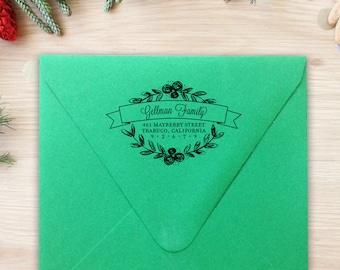 Retour adresse timbre Couronne de Laurier calligraphie Rubber Stamp auto-encreurs adresse lunatique mariage cadeau de pendaison de crémaillère cadeau cadeau de Noël