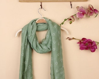 Seasonal Sales For ALL SCARVES ***  Aqua Horseshoe Scarf, Large Shawl Stole Scarf, spring scarf, summer scarf, autumn scarf, women scarf