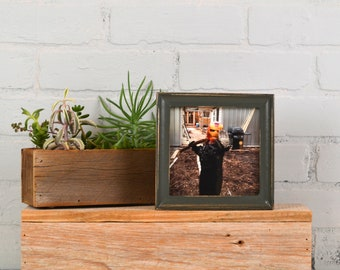 5x5 Square Photo Frame in Foxy Cove Style with Vintage Sable Gray Finish - IN STOCK - Same Day Shipping - 5 x 5 Sale Frames Solid Hardwood