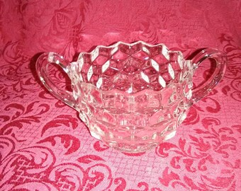 Vintage diamond pattern round open sugar bowl.
