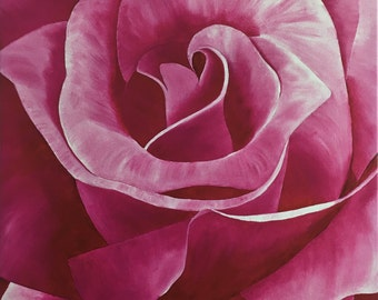 """Pink Rose Oil Painting - Gallery Wrapped Giclee Reproduction on Canvas - 28"""" x 20.75"""""""