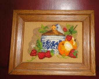 Vintage Still Life Fiber Framed Art/Fruit/ Pottery
