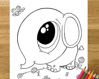 Cute Baby Elephant Coloring Page! Downloadable PDF file!