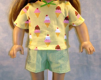 18 Inch Doll Clothes - Yellow Ice Cream Cones Shorts Set handmade by Jane Ellen to fit 18 inch dolls