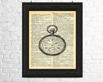 Steampunk Wall Art, Steampunk Dictionary Page Art - Pocket Watch Wall Art, Pocket Watch Printable Art, Printable Poster, Steampunk Poster