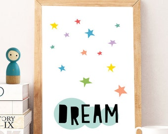 SALE Baby Room Decor - Printable Quotes - dream Little Star - Wall Art Decor - Short Happy Quotes - Modern Wall Art - Quote Pictures- STARS