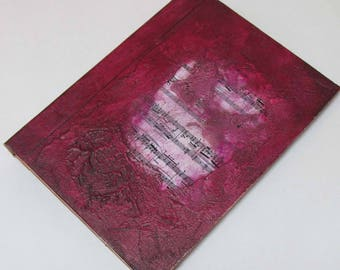 Handmade Refillable Journal Distressed Burgundy Music textured 8x6 Original travellers notebook hardcover fauxdori