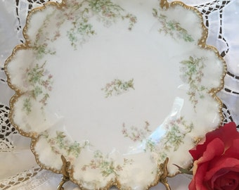 Antique Havilland and Company Limoges, France -Serving Bowl- Scalloped Gilded Edge,Delicate Pink and Green Floral- 9 1/2 inches