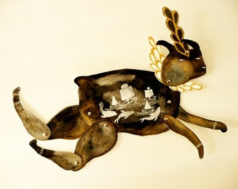 Leaping Sea Rabbit DIY or Constructed Articulated Paper Doll / Hinged Beasts Series