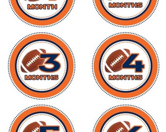 Baby Month to Month Stickers, Football Monthly Birthday Stickers for Baby, Orange and Blue Football Photo Prop Birthday Stickers