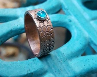 Mermaid copper adjustable ring, Copper ring, Bff gift, hand stamped ring, Mermaid lover, Mermaid jewels, Mermaid scales ring