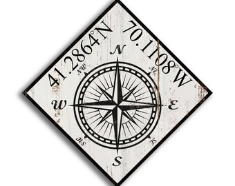 Customized Latitude Longitude Wood Coordinate Sign Nautical Compass Hand Crafted Print on Wood Decor wooden handmade home decor wall signs