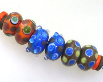 Handmade Lampwork Glass Beads - 3 pairs. Stacked raised dots on orange, blue, olive. Earring pairs, jewelry supplies.