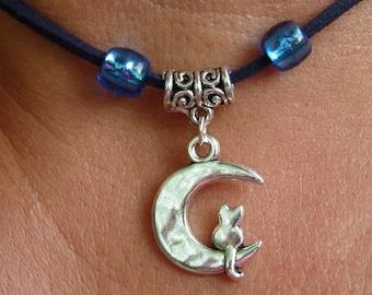 CREW neck * cat in the Moon pendant * Navy Blue Suede
