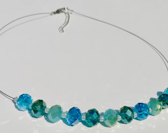 Blue Aqua Emerald Beaded Crystal Rondelle Necklace