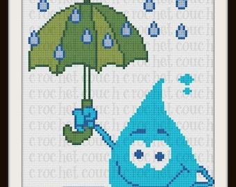 Raindrop Twin Afghan, C2C Graph, Written Word Chart