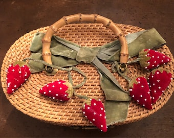 Adorable basket purse with velvet strawberries