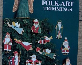 vintage 1989 cross stitch pattern FOLK ART TRIMMINGS from wood carvings santas angels