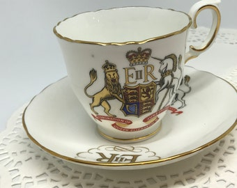 Vintage British Collectible China Tea Cup and Saucer of Queen Elizabeth II Coronation