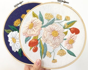 Floral Embroidery Pattern. Botanical Embroidery Hoop Art. Summer Floral Design. DIY Home Decor. Bouquet Embroidery. Craft Lover Gift for Her