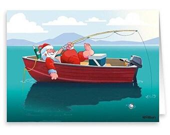 Santa's Fishing Break Christmas Card - 18 Cards & Envelopes - 60033