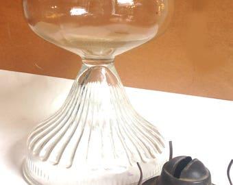 vintage clear glass kerosene lamp