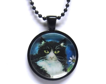 Tuxedo cat flower smile painting print Art Glass Pendant Necklace